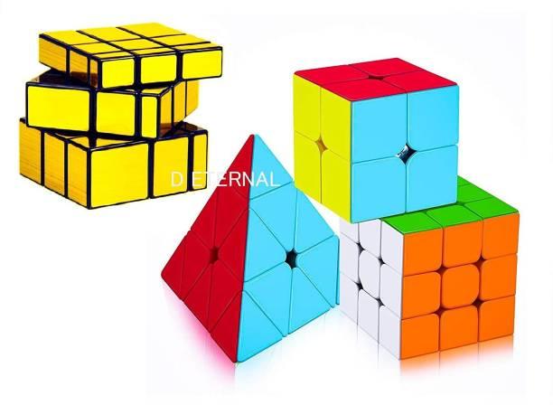 D ETERNAL Cube 2x2 3x3 Pyraminx Pyramid Triangle & Mirror Magic Cube Combo