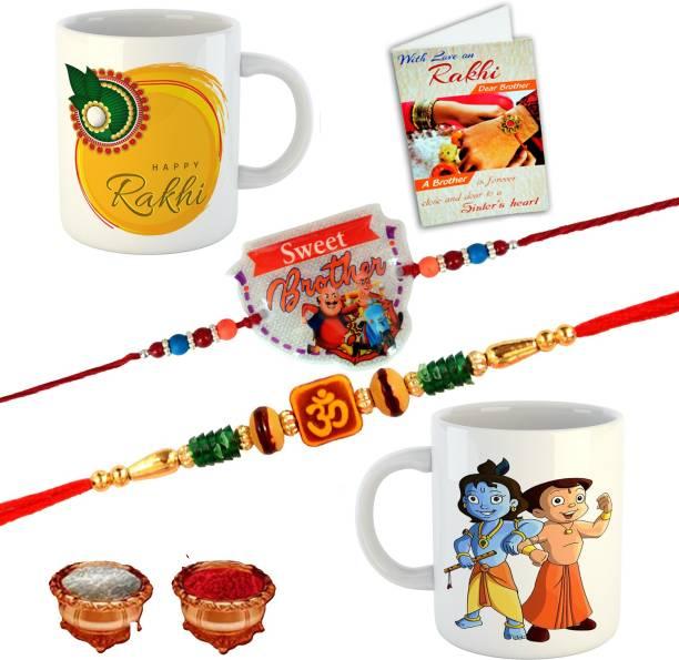 BuyersCue Kids Rakhi, Chawal Roli Pack, Greeting Card, Mug  Set