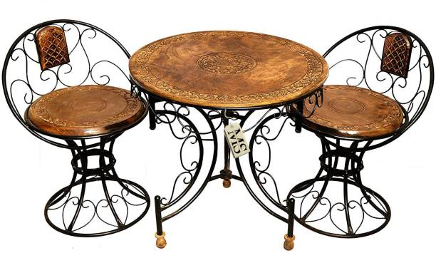 manzees Wood & Wrought Iron Decorative Mooda Chairs with Foldable Round Table Set of 3 Fabric 2 + 1 + 1 Brown Sofa Set