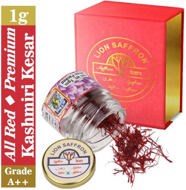 LION SAFFRON Grade A++ Pure All Red Kashmiri Kesar Saffron - Mongra (Organic) | Natural and Certified High Quality Saffron