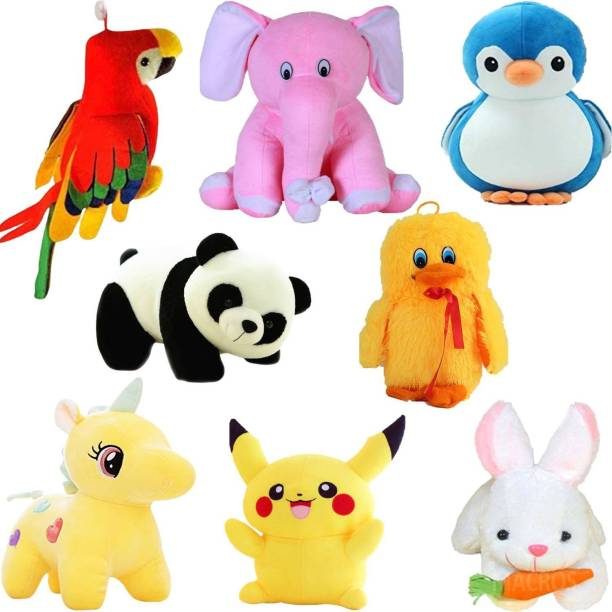 Macros Classic Super Soft Complete Family Pack Combo of 8 Teddy Bear Toy in Low Budget for kids / Gift , Parrot , Elephant , Penguin , Panda , Duck , Unicorn , Pikachu , Rabbit .  - 25 cm