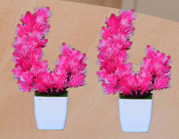 KAYKON 2 Artificial Bonsai Plant Mini Tree For Home Decor - 10 Inch/25 cm Bonsai Wild Artificial Plant  with Pot