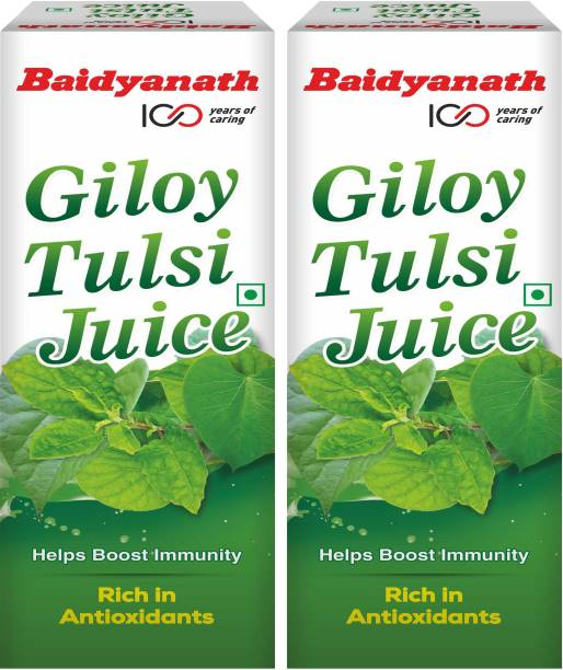 Baidyanath Giloy Tulsi Juice - Boosts Immunity and Digestion | Natural source of Antioxidants for Detoxification, for Liver and Skin Health | No Added Sugar, Colour or Flavour | Pack of 2