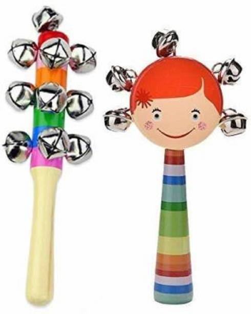 US HANDICRAFTS Wooden Handmade Rainbow beautiful rattle set / Jingle Bell Rattle Toys / Infant toy for baby girls and boys / Attractive Dugi Dugi Rattle Sweet Cuddle / Jhunjhuna . (Multicolor) Rattle