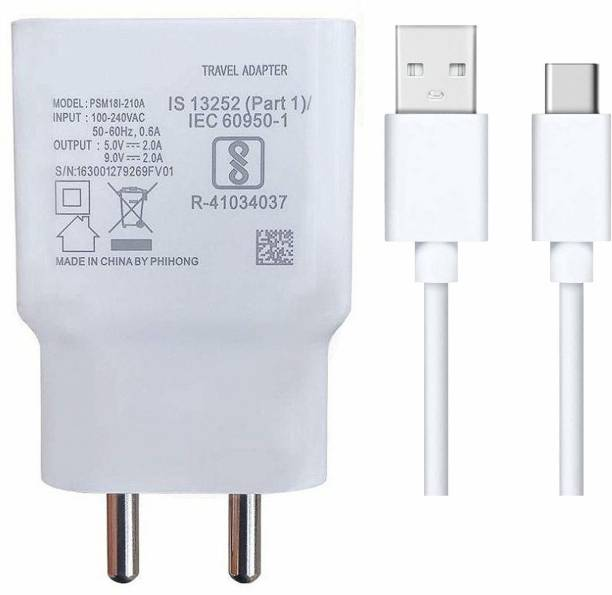Tankit Quick Charger For Galaxy M31 Prime Charger Original Adapter Wall Charger   Type-C Mobile Charger   Type-C Charger Cable Fast Charging Mobile Charger   Type C Fast Charger   Type C Android Charger with 1 Meter USB Type C Charging Data Cable 2.4 A Mobile Charger with Detachable Cable