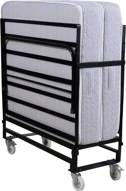 Springtek Folding Rollaway Bed with 6 inches Mattress Metal Single Bed