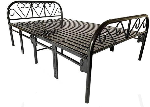 Ziaula 4 Feet By 6 Feet Double Size Metal Foldable Bed (Heavy Duty) Foldable Metal Double Bed