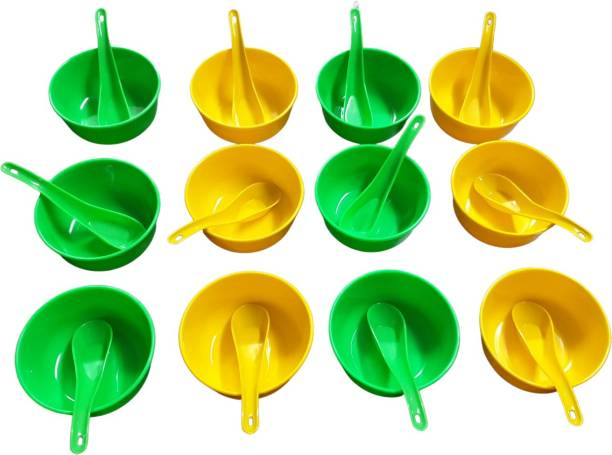 Boxette 6 Green and 6 Yellow Bowl with 6 Spoon Green and 6 Spoon Yellow ( Pack of 24 pcs) Polypropylene Soup Bowl