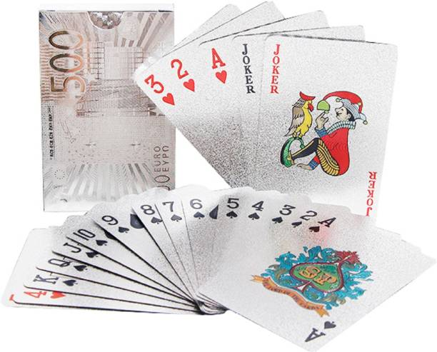 Aseenaa Waterproof PVC Playing Cards | Plastic Playing Set for Game Deck | Gift Poker | Table Cards with Razor Edges and Corners for Classic Magic Tricks Games | Colour - Silver