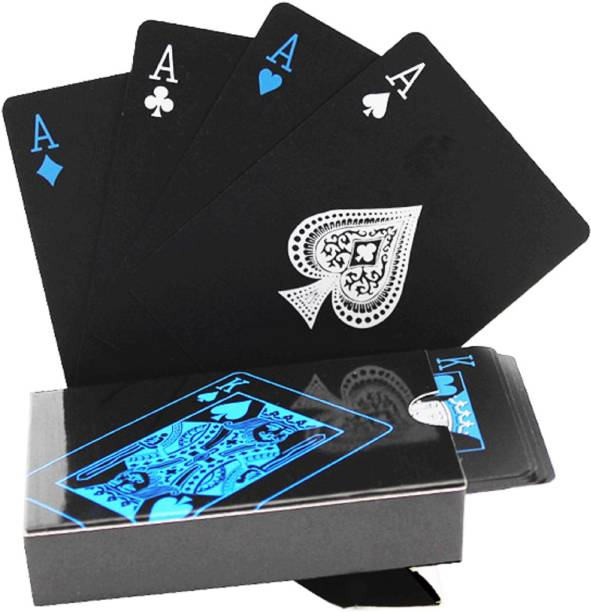 Aseenaa Waterproof PVC Playing Cards | Plastic Playing Set for Game Deck | Gift Poker | Table Cards with Razor Edges and Corners for Classic Magic Tricks Games | Colour - (Black)