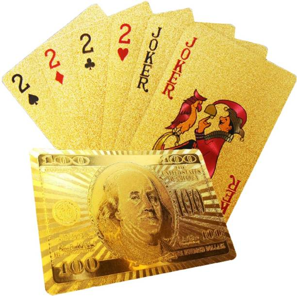 Aseenaa Waterproof PVC Playing Cards | 24 Carrot Gold Plated Plastic Playing Set for Game Deck | Gift Poker | Table Cards with Razor Edges and Corners for Classic Magic Tricks Games | Colour - Golden