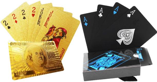 Aseenaa Waterproof PVC Playing Cards Combo | Plastic Playing Set for Game Deck | Gift Poker | Table Cards with Razor Edges and Corners for Classic Magic Tricks Games | Pack of 2 | Colour - (Black and Gold)