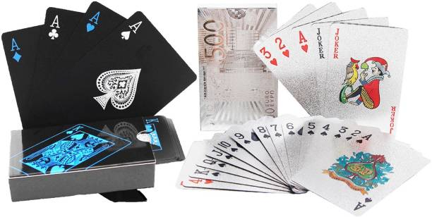 Aseenaa Waterproof PVC Playing Cards Combo | Plastic Playing Set for Game Deck | Gift Poker | Table Cards with Razor Edges and Corners for Classic Magic Tricks Games | Pack of 2 | Colour - (Black And Silver)