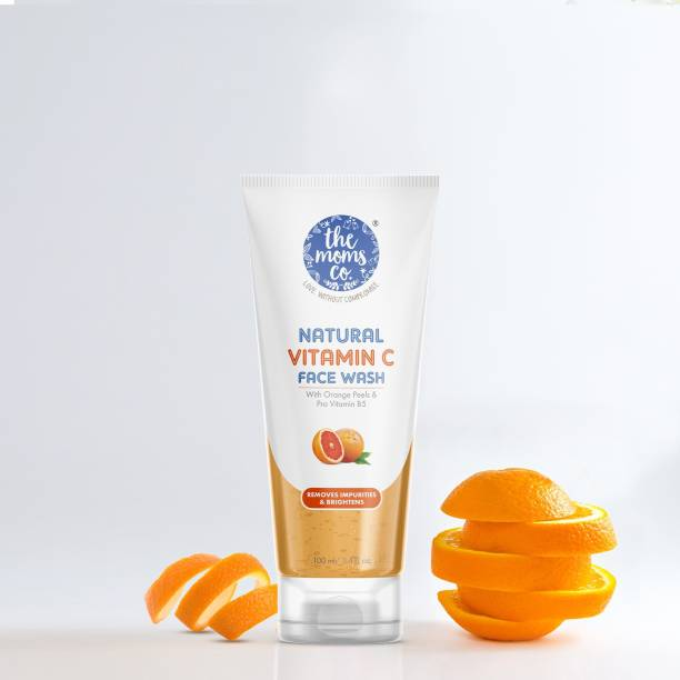 The Moms Co. Natural Vitamin C Face Wash I Clean & Brighten Skin I Oil Free Look I Instant Glow I Orange Beads
