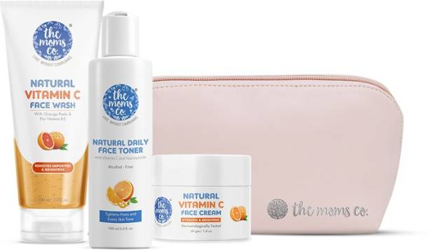 The Moms Co. All Day Glow Vitamin C Routine l Clean & Brighten Skin I Oil Free Look I Instant Glow I Orange Beads