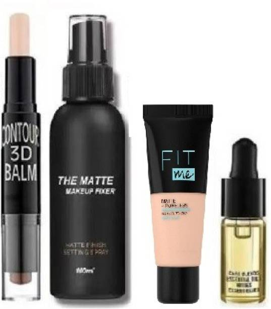 SEUNG MAKEUP SETTING FIXER SPRAY AND 2 IN 1 CONTOUR & CONCEALER STICK WITH LIQUID MATTE HD GLOW FOUNDATION & AND FACE SERUM OIL COMBO KIT