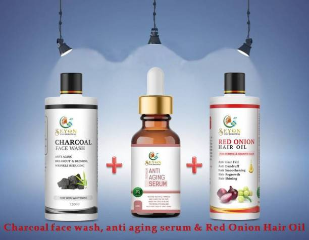 SEYON Face Serum For Glowing Skin, Hair Serum For Silky Shining Hairs Combo With Red Onion Oil For Hair Regrowth Hair Damage Anti Hairfall