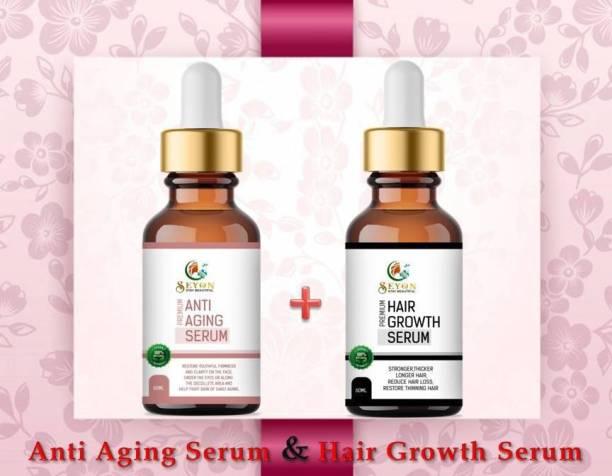 SEYON Face Serum For Glowing Skin, Hair Serum For Silky Shining Hairs Combo