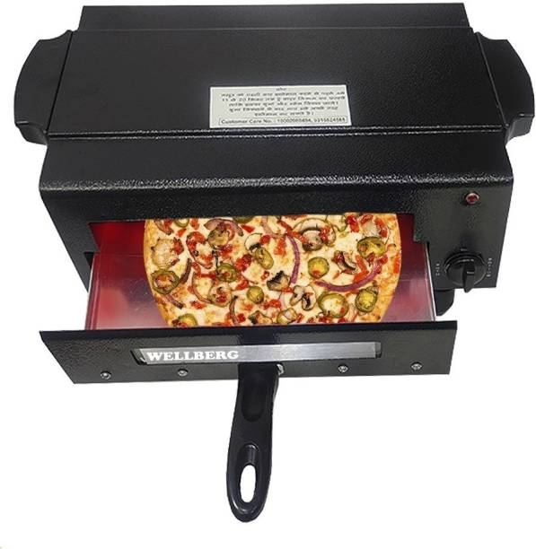 Wellberg 2000W Upper and Lower on/Off System Small Electric Pizza Maker Fish Chicken Tikka Naan Tandoori Roti Cake Baker French Fries Meat Barbecue Chaap Oil-free Fryer (Black) Pizza Maker