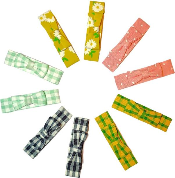 High Profile Fancy Printed Colour Ribbon Bow Hairpin Snap Tic Tac Hair Clip for Kids, Girls and Women - Pack of 10 (5 pairs) Tic Tac Clip
