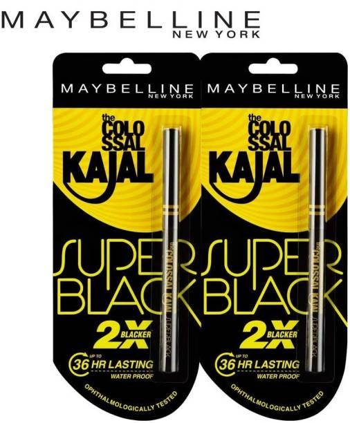 Maybeline New York Colossal Super Black Kajal, Pack of 2