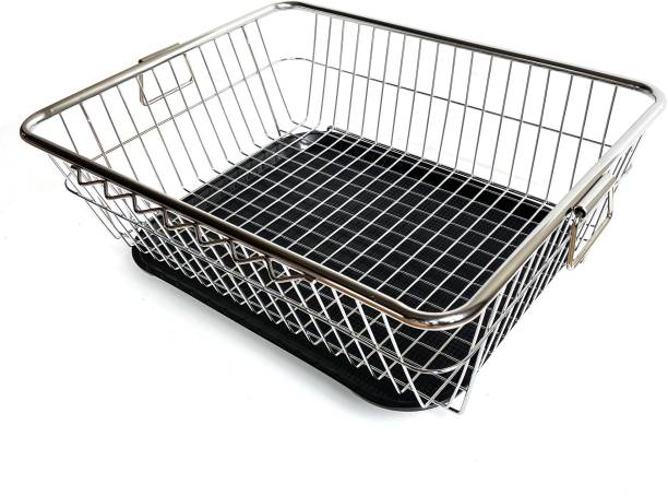 SMART SLIDE Stainless Steel Dish Drainer Rack with Drip Tray / Utensil Drying Stand for Kitchen / Plate Rack / Bartan Basket / Sink Counter Top Dish Drainer Rack (22L x 17W x 9H inches) Dish Drainer Kitchen Rack