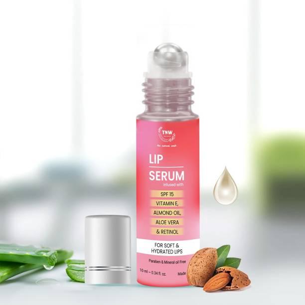 TNW - The Natural Wash Lip Serum Infused With SPF 15 Vitamin E Almond Oil Aloe Vera & Retinol For Soft & Hydrated Lips Paraban & Mineral oil Free strawberry