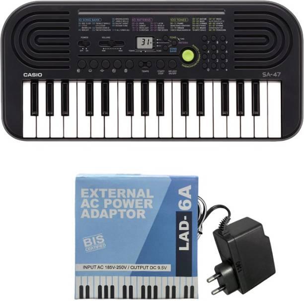 CASIO SA-47 with LAD-6 AC Adaptor 9.5V KM14 & KLA17 Digital Portable Keyboard