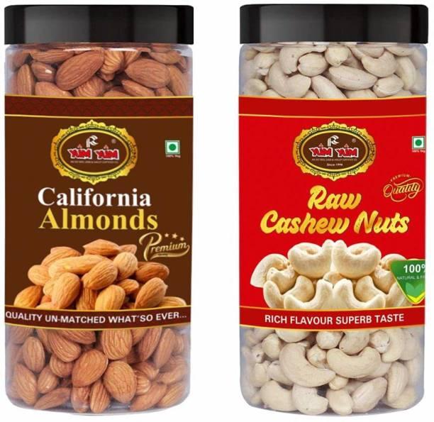 YUM YUM Premium California Almond (500g) and W-400 Cashew (500g) 1kg Dry Fruits Combo Pack- Almonds, Cashews