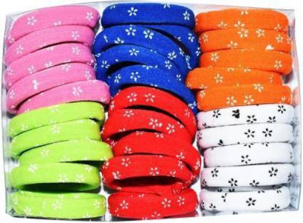 Fabowlous Rubber bands Dotted Print Pastel Shade Soft Fabric Ponytailers Elastic Hair Ties Strechable Hair bands Multicolor , Medium, For Women/Girls (Pack Of 30) Rubber Band (Multicolor) Rubber Band Rubber Band