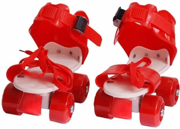 ZARTHA New Roller Skating Skate Shoes For Unisex/Kids With Ajustable Quad Roller Skates Quad Roller Skates - Size FREE