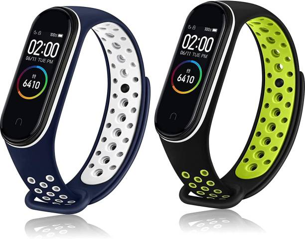 WEBDOO INFOTECH High Quality(Nike Design/ Dotted Multi Color) Soft Breathable Strap Silicone Sports Watch Bands For Xiaomi Mi Band 3/ Mi Band 4 | Blue and Green(Dotted) Adjustable Mi Band Strap Combo for Xiaomi Mi Band 3/ Mi Band 4 | Fitness Band Strap for M3 / M4 | Soft & Waterproof Fitness Band Strap for Xiaomi Mi Band 3 & 4 Smart Band Strap