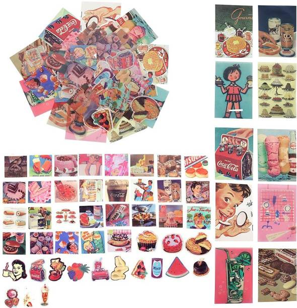 HASTHIP Small 55 Pcs Stickers Set Mucha Girls Journal Stickers for Planner DIY Decorative Stickers for Scrapbook Journaling Diary Book Planner Art Project 55 Designs (Multi-color2)