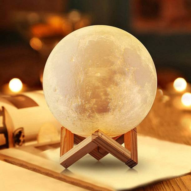 Care Ware 3D 7 Color Changing Moon Light with Stand for Bedroom Lights for Adults and Kids Home Room Beautiful Moon Lamp for Indoor Lighting, Sensor Touch Crystal Ball Night Lamp with Wooden Stand (15CM, White, Pack of 1) Night Lamp