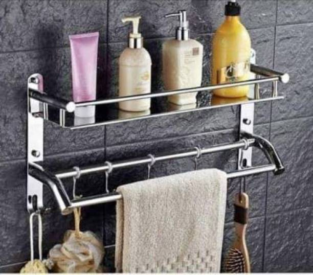 CSI INTERNATIONAL Premium Towel rack Abs Stainless Steel Bathroom Accessories and Folding Towel Rack/Towel Hanger/Towel Stand/Holder Silver Towel Holder (Stainless Steel) 18 inch 1 Bar Towel Rod