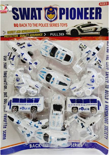 ANANYA CREATIONS Police Fire Super The Cars 4 Super Power Cars 4 Airplane 2 Bikes 2 Bus Gift Type Toys Push Back Forward Backward for Girls & Boys Pack of 12 Pies