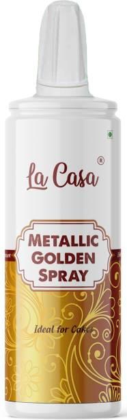 La Casa Metallic Pearlescent Golden Spray Colour   Edible Color Ideal for Cake Decoration & Garnishing   Glitters
