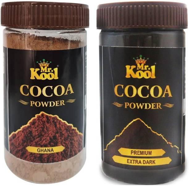 Mr.Kool 100% Natural Organic Extra Dark & Ghana Cocoa Powder 100g Combo for Baking Chocolate Cake, Cookie, Muffins, Shakes (Cocoa Extra Dark & Cocoa Ghana) Cocoa Powder