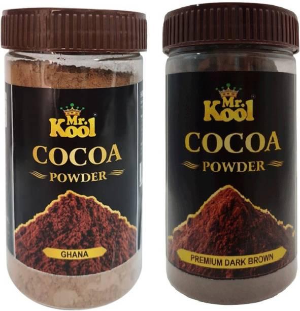 Mr.Kool Ghana Cocoa Powder & Dark Brown Premium Cocoa Powder 100 gm Combo for Chocolate Cake Baking, Brownie, Muffins (Cocoa Ghana & Dark Brown) Cocoa Powder