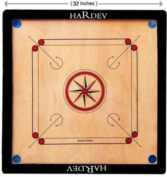 hardev Best of All Full Size Tournament Carrom Board With Wooden Coins,Striker& powder 3.88 cm Carrom Board