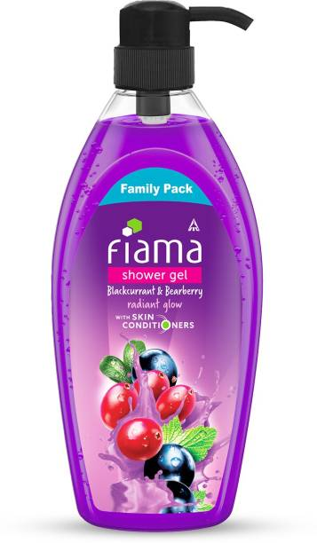 FIAMA Shower Gel Blackcurrant & Bearberry Body Wash with Skin Conditioners for Radiant Glow, 900 ml , Family pack