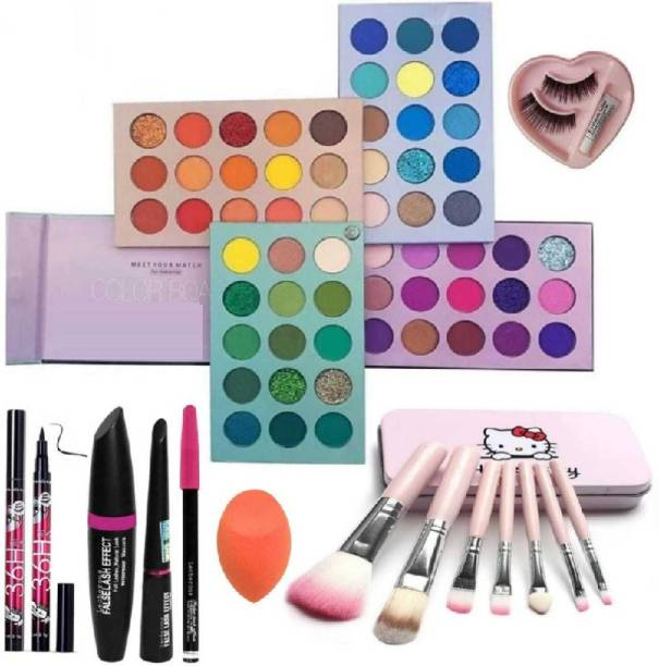 klaty Eyeshadow Palette 60 Colors Mattes And Shimmers High Pigmented Color Board Palette Long Lasting Makeup Palette Blendable Professional Eye Shadow with sketch eyeliner, mascara, eyebrow pencil, eyeliner, Glue eyelashes, beauty blander and 7pc makeup Brush set (8 Items in the set)