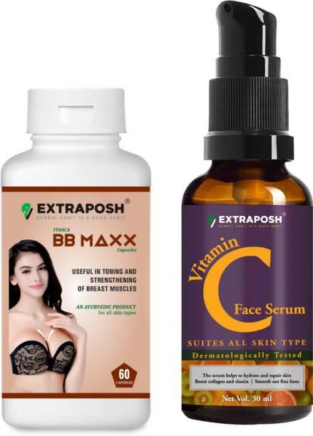 Extraposh BB Maxx Capsules - Breast Increment & Toning Capsules + Vitamin C Face Serum - Usefull in skin Brightening