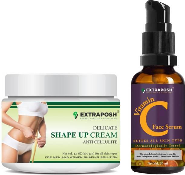 Extraposh Delicate Shape Up Gel - Ayurvedic Slimming Gel + Vitamin C Face Serum - Usefull in skin Brightening