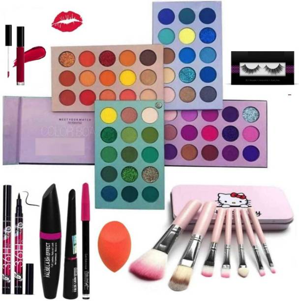 RICERCA Eyeshadow Palette 60 Colors Mattes And Shimmers High Pigmented Color Board Palette Long Lasting Makeup Palette Blendable Professional Eye Shadow with sketch eyeliner, mascara, kajal, eyeliner, Glue eyelashes, beauty blander and a matte look lipstick (RED) and 7pc makeup Brush set (9 Items in the set)
