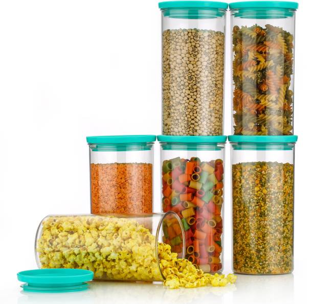 wintrezza Customer 1st Choice Round air Tight 1400 ML Easy Flow Cereal Dispenser Storage Jar, Idle for Kitchen- Storage Box Lid Food Rice Pasta Pulses Container,Round Containers for Kitchen (Set of-6 CGREEN)  - 1400 ml Plastic Cereal Dispenser