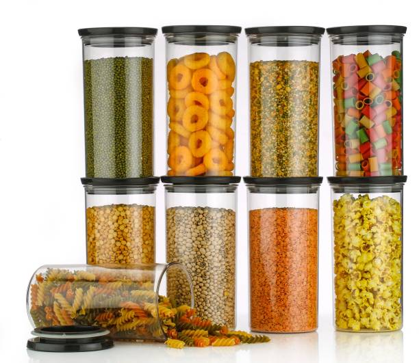 wintrezza Customer 1st Choice Round air Tight 1400 ML Easy Flow Cereal Dispenser Storage Jar, Idle for Kitchen- Storage Box Lid Food Rice Pasta Pulses Container,Round Containers for Kitchen (Set of-9 black)  - 1400 ml Plastic Cereal Dispenser