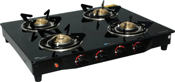 Kitchnx 7 mm Toughened Glass Steel Automatic Gas Stove