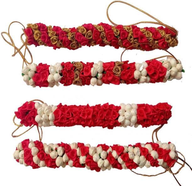 GadinFashion Bridal Hair Artificial Flower Mogra Gajra/Bun For Women/Grils (Wedding,Party) Pack_04,Multicolor Bun