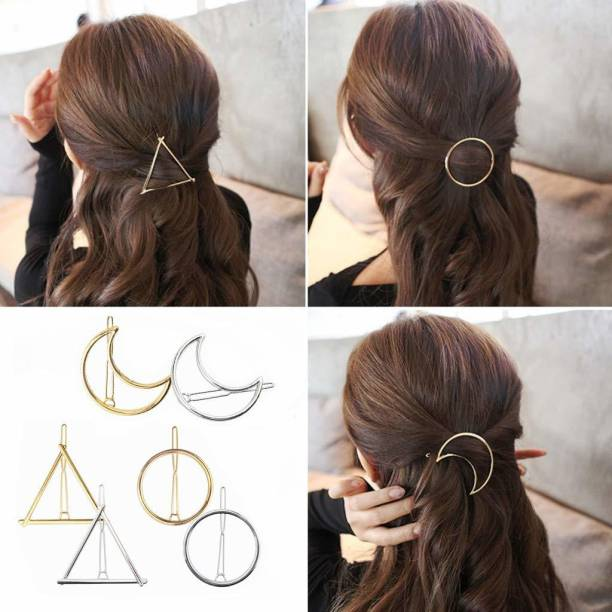HOMEMATES 6 Pack Circle Triangle Branch Pearl Metal Gold Silver Hair Clips Hairpins Snap Barrettes Comb Claw Clamp Wedding Bridal Decorative Hair Styling Hair Accessories for Women Girls Hair Pin